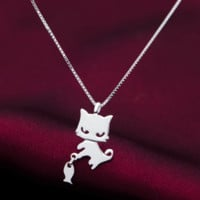 Lovely kitten fishing 925 sterling silver necklace, a perfect gift