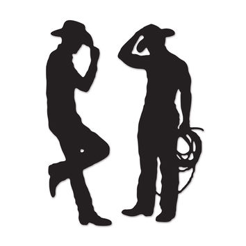"Biestle Party Decoration Cowboy Silhouettes 35"""" & 37"""" (2 Count)- Pack of 12"