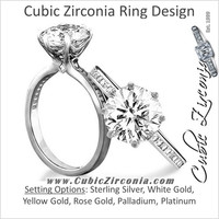 Cubic Zirconia Engagement Ring- 1.80 TCW 6-Prong Round Cut with Princess Channel Band