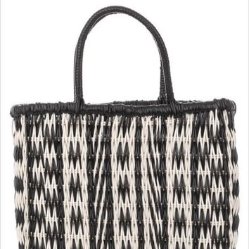 Fame Accessories Plastic Tribal Print Tote