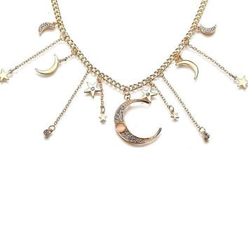 Moon And Stars Gold Celestial Change Dangle Necklace