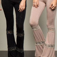 Bohemian Dream Stretch Black Bell Bottom Flare Lace Panel Trim Leggings Yoga Casual Pants S M L
