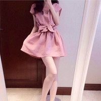 Pink Short Sleeves  Bow Waist Dress