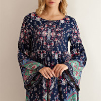 Floral Print Baby Doll Dress - Blue