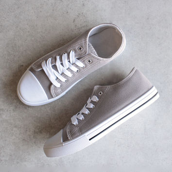 canvas low top sneakers - grey
