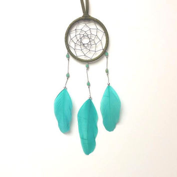 Small Dream Catcher - Aqua/ Turquoise and Olive Green - Minimal/ Modern DreamCatcher