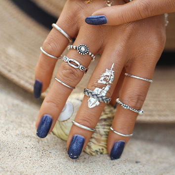 10pcs/set Vintage Fashion Tibetan Antique Infinity Silver Color Gold Color Midi Ring for Women Bijoux Punk Rings Set Gift   -d0527