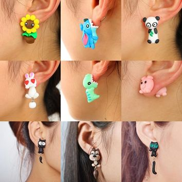 Octbyna 100% Handmade Polymer Clay Animal Earrings Cute Cat Red Fox Lovely Panda Squirrel Tiger Stud Earrings for Women Jewelry