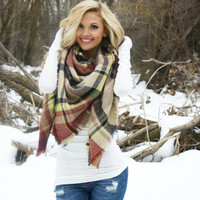 Mocha Plaid Blanket Scarf