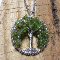 Weeping Willow Tree Of Life Necklace Green Peridot On Silver Chain Wire Wrapped Jewelry August Birthstone