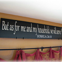 As For Me And My Household- Joshua Christian Wall Decor- Shabby Chic Typography Sign-Black