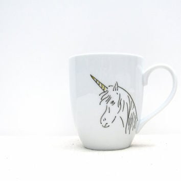 Coffee Mug - Unicorn Mug -  Yellow and Black Hand drawn Unicorn- Black and White Coffee Cup