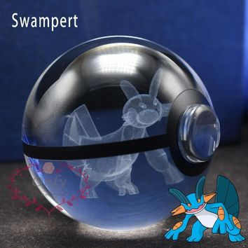 Amazing 3D  Swampert Pokeball Kid Night Light Stand for Christmas GiftsKawaii Pokemon go  AT_89_9