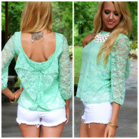 Lacy Days of Summer Mint Bow Back Blouse