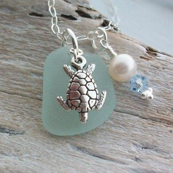 Scottish Sea Glass and Sterling Silver Turtle Necklace | SeaGlassSparkles - Jewelry on ArtFire