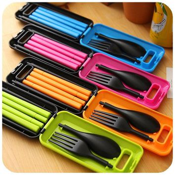 1Set Portable Travel Kids Adult Cutlery Travel Fork Tableware Dinnerware Sets Camping Picnic Set Gift For Child 12*5.7*2.2cm