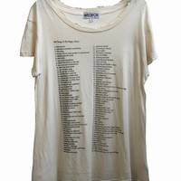 100 THINGS - HIPPIE CREW NECK T at Wildfox Couture in  - DIRTY WHITE, - DIRTY BLACK