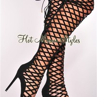 Black Caged High Heel Boots