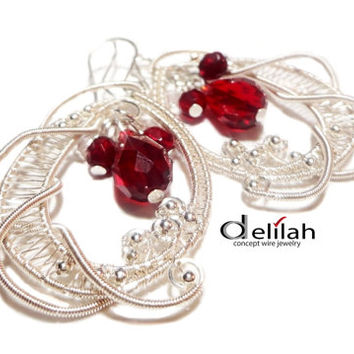 Wire Wrapped Burgundy Red Lace Earrings Wire Wrap Red Earrings Elegant Wrap Earrings Special Gift Earrings Sheherezada Earrings Wire Jewelry