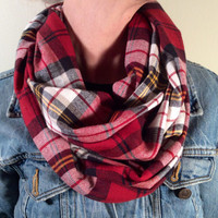 Handmade Infinity Scarf Plaid Flannel - Double Layer Circle Scarf - Back to School, Blue, Red and Cream, Christmas Present, Holiday Gift