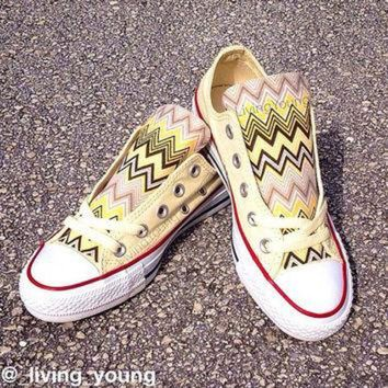DCCKHD9 Yellow Chevron Converse Low Top Sneakers Pastel Yellow Custom Chuck Taylors