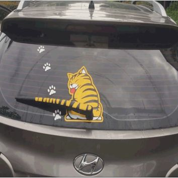 Funny Car Cat Sticker
