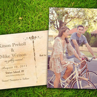 """Photo Save The Date Wedding PostCard - Vintage Rustic French Bordeaux Customizable 4"""" x 6""""  - 50 Pieces PRINTED Double Sided Postcard"""