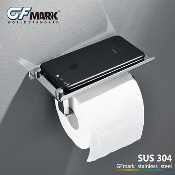 GFmark Toilet Paper Holder Wall Mount Bathroom Hardware SUS304 Stainless Steel WC Rolhouder Toilet Roll Holder With Phone Shelf