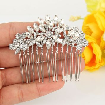 BELLA Small Love Heart Crown Bridal Hair Comb Cubic Zircon Head Piece For Wedding Hair Piece Bridesmaid Comb Party Gift