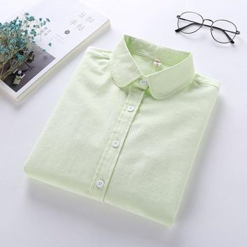 Women Blouse 2017 New Casual Long Sleeved Cotton Oxford White Shirt Woman Office Shirts Excellent Quality Blusas Lady T77601J
