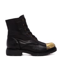 Bronx Black Leather Boots with Gold Toecap