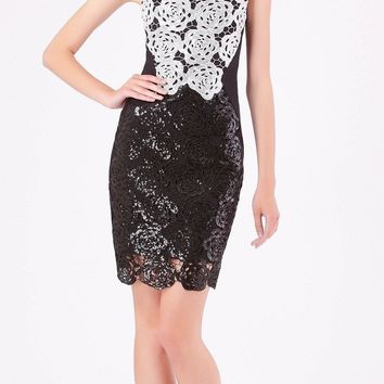 Black & White Sequined Floral Lace Crochet Dress