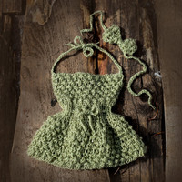 Newborn baby girl dress and Baby headband, newborn dress, hand knit baby dress, green khaki baby dress, take home gown