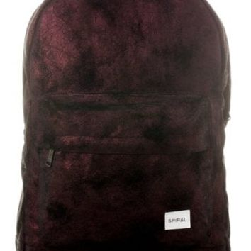 Spiral UK Burgundy & Black Velvet OG Backpack | Attitude Clothing