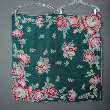 Large Roses Silk Scarf, Vintage 1960s, 33 inches, Dark Teal, Red & Pink, Head, Neck Scarf