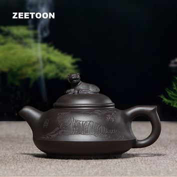180ml Authentic Yixing Teapot Chinese Healthy Purple Clay Dragon Tiger Pot Master Handmade Zisha Kung Fu Tea Set Canglongwohu