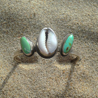 Of Earth and Sea Turquoise and Cowrie Shell Sterling Silver Cuff