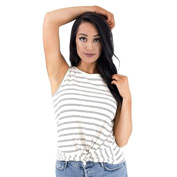 Women's Stripe Twist Front Tank