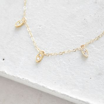 Marquis Charm Necklace - Gold