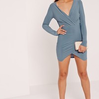 Missguided - Slinky Wrap Plunge Bodycon Dress Blue