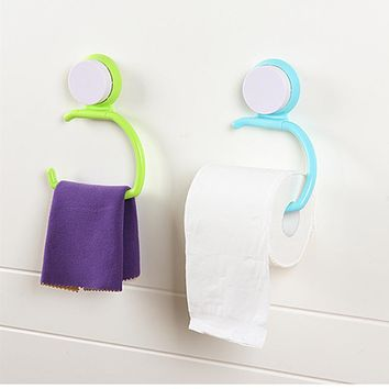 Household Creative Strength Seamless Wall Suction Hanger Towel Tissue Toilet Paper Holder Rack  Bathroom Kitchen C5
