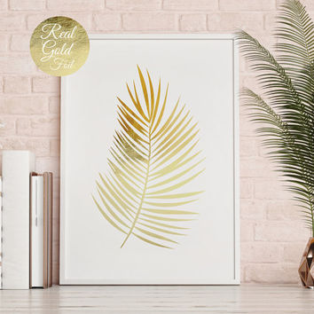 Palm Leaf Print, Flower Illustration, Gold Palm Leaf Poster, Real Gold Foil Print, Flower Art, Plant Poster, Floral Decor, Beach Wall Decor
