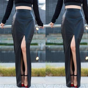 Faux Leather Slim Open Side Maxi Skirt