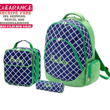 Personalized With Embroidery Navy Blue and Green Academy Print Large School Backpack and Lunch Bag Set Free Pencil Bag and Shipping