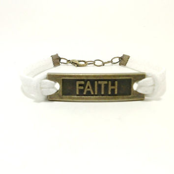 White Bronze Faith Bracelet, Charm Bracelet,Friendship Bracelet, Jewelry with Words, Religious Bracelet, Christian Jewelry, Faith Jewelry