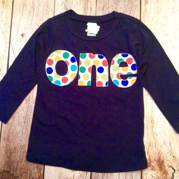 Long Sleeve Birthday Shirt in NAVY  with balls dots in primary colors - red, blue, yellow - boys 1st Birthday ball party cake boys first