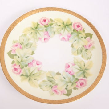 Vintage RC Bavaria Plate Hand Painted Pink Roses 9 Inch Encrusted Gold Trim Made In Germany