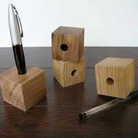 Wood Cube Pen Stand. Wood Stylus Pen Holder. Oak and Walnut.
