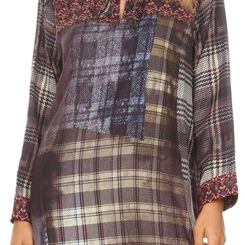 Sakkas Ida Womens Peasant Boho Tunic Blouse Top with Long Sleeves & Embellishing