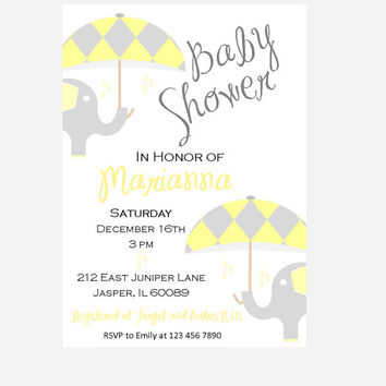 Elephant baby shower invitation, baby sprinkles, yellow and grey baby elephants shower Umbrella rain drops, printable invitation, unisex,